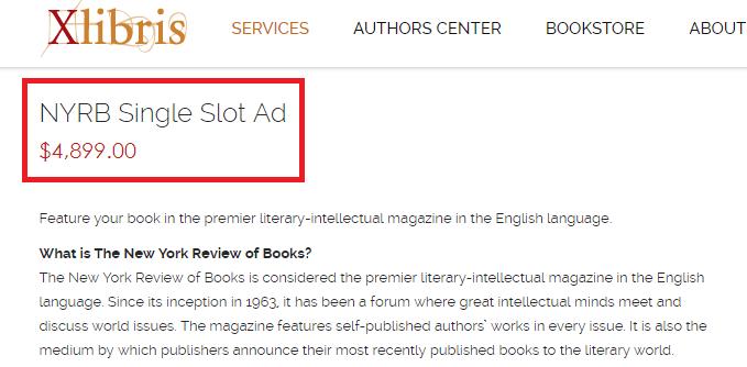 Xlibris NYRB ad packs $4899