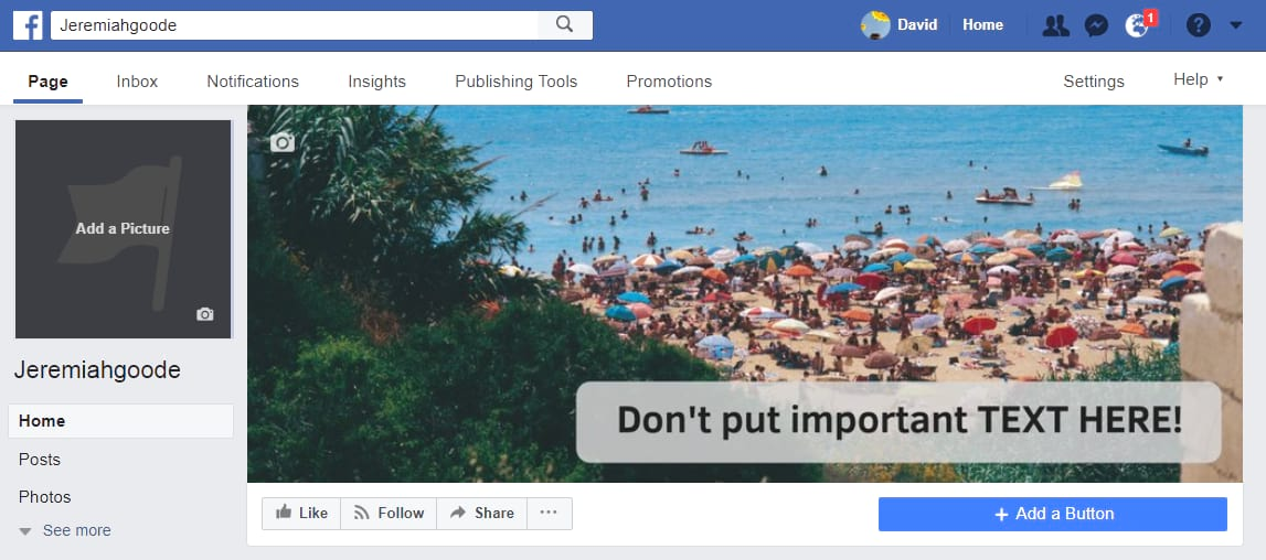 Sample Facebook Cover Photo Optimized for Desktop but not Mobile