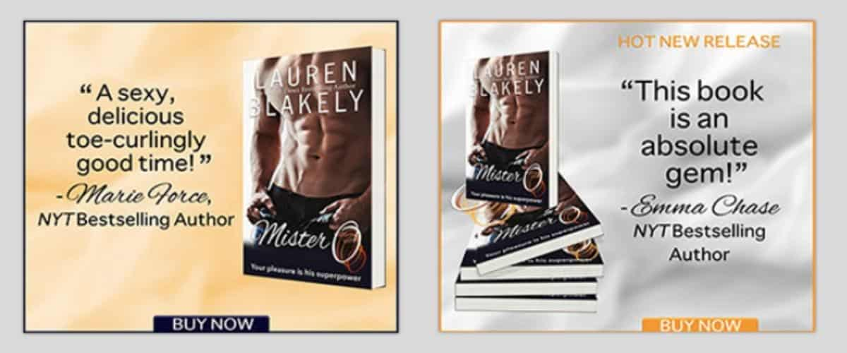 Two Lauren Blakely BookBub ads, one for existing fans, one for new fans