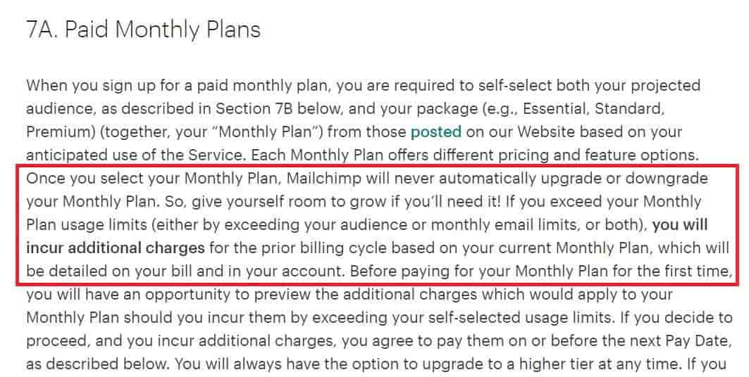 Mailchimp Paid Monthly Plans - Terms of Use changes