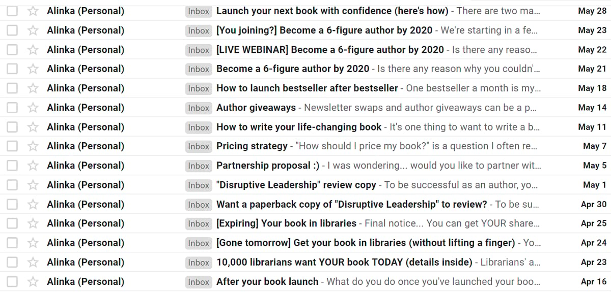 Example of a spammy use of email by an internet marketer sending sleazy messages every two days to a totally unengaged audience